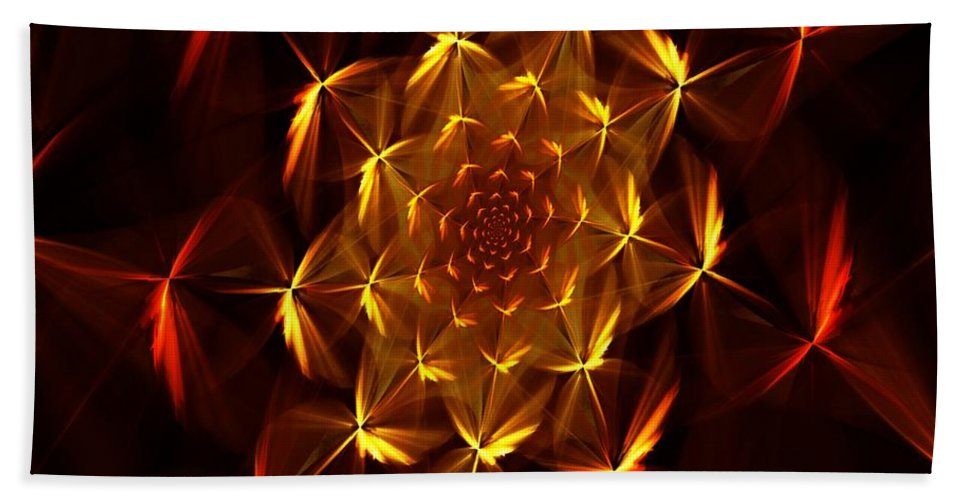 Abstract Hand Towel featuring the digital art Fractal Floral 062610a by David Lane
