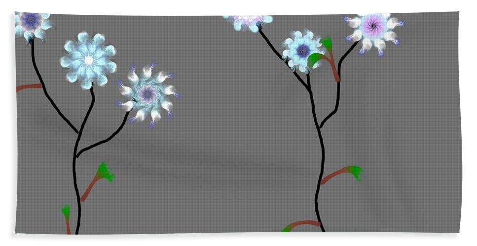 Digital Painting Bath Towel featuring the digital art Fractal Floral 10-21-09 by David Lane