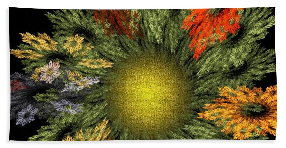 Fantasy Hand Towel featuring the digital art Fractal Floral 12-05-09 by David Lane