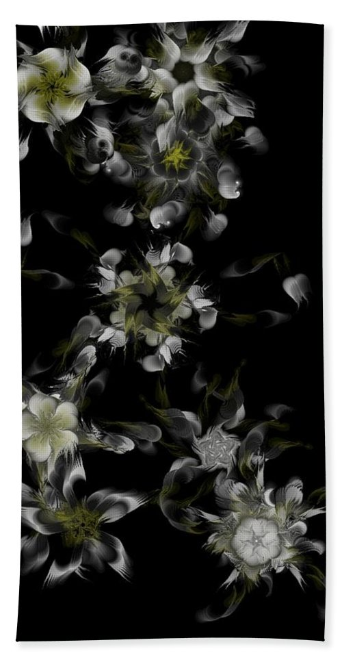 Digital Photograph Hand Towel featuring the digital art Fractal Floral Pattern Black by David Lane