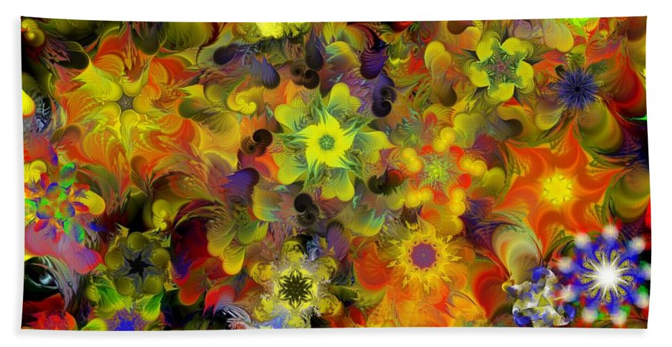 Digital Painting Hand Towel featuring the digital art Fractal Floral Study 10-27-09 by David Lane