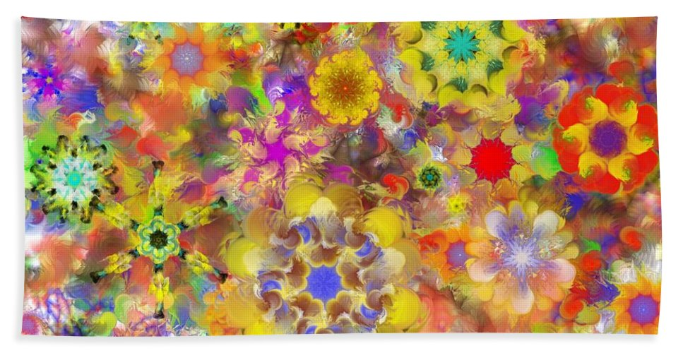 Digital Painting Hand Towel featuring the digital art Fractal Floral Study 2 by David Lane
