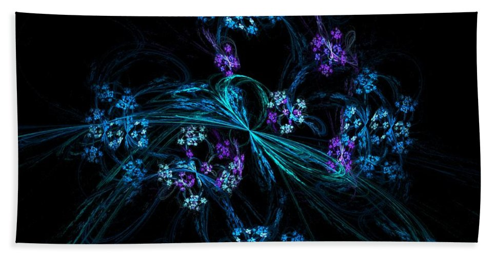 Fantasy Hand Towel featuring the digital art Fractal Forget Me Not Bouquet by David Lane