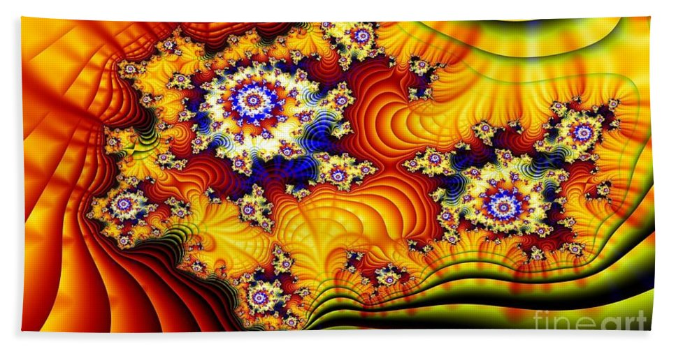 Furrows Hand Towel featuring the digital art Fractal Furrows by Ron Bissett