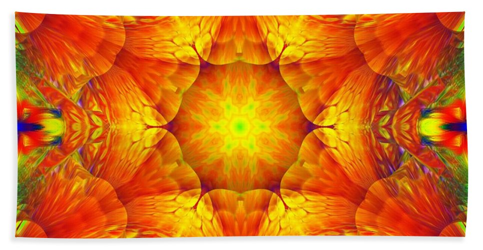 Abstract Digital Painting Hand Towel featuring the digital art Fractal Garden 10 by David Lane