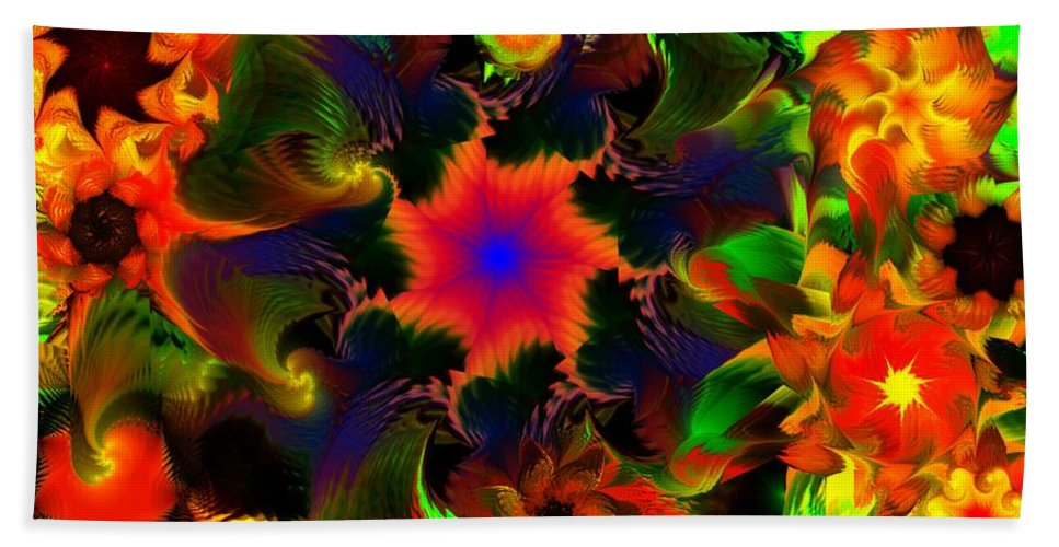 Abstract Digital Painting Bath Towel featuring the digital art Fractal Garden 15 by David Lane