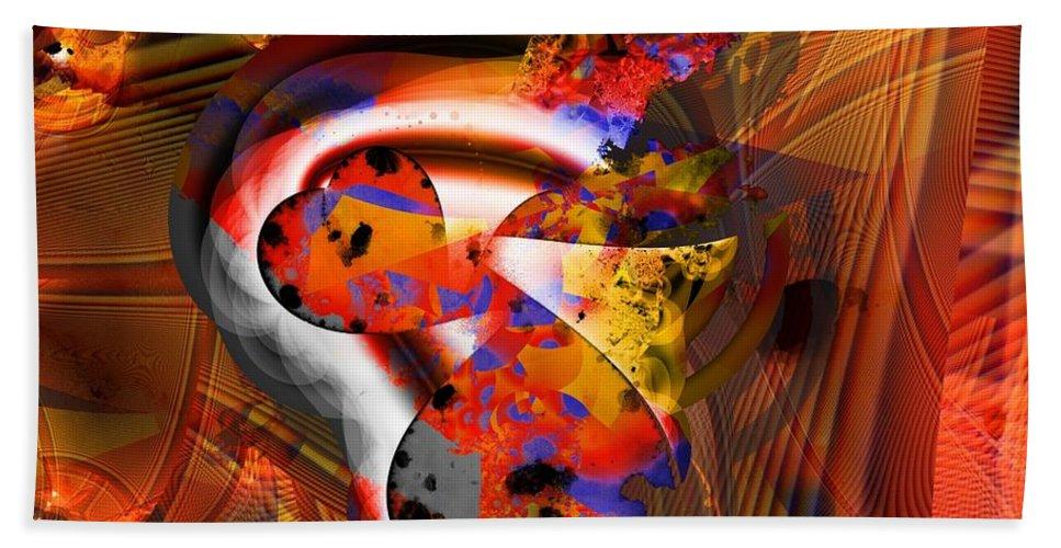 Heart Hand Towel featuring the digital art Fractal Heart by Ron Bissett