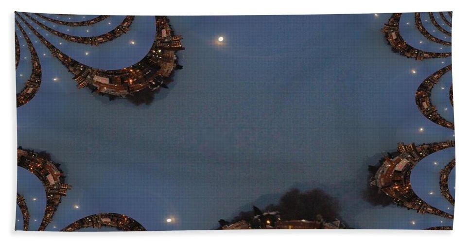 Moon Bath Towel featuring the digital art Fractal Moon by Tim Allen