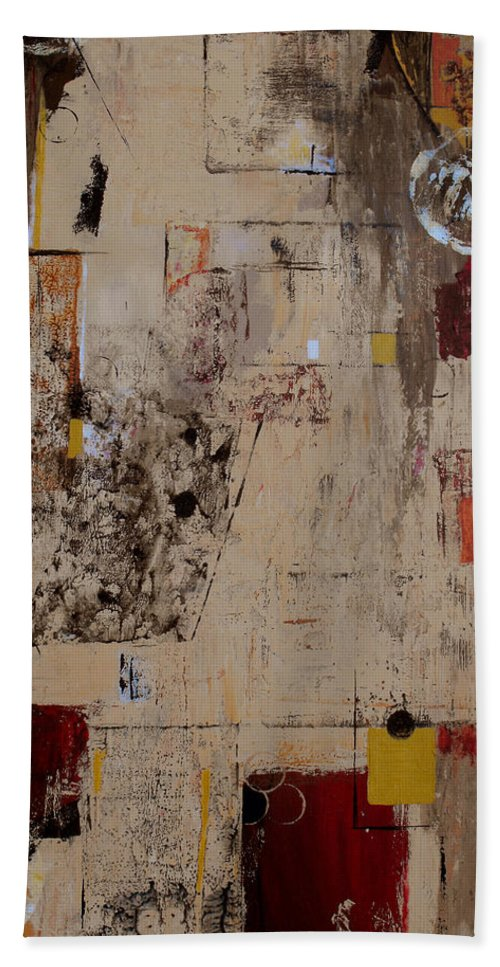Abstract Bath Sheet featuring the painting Fractions by Ruth Palmer