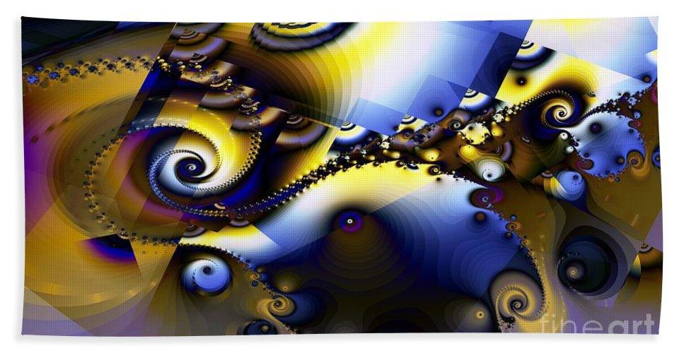 Fractal Bath Sheet featuring the digital art Fractured Fractal Spirals by Ron Bissett