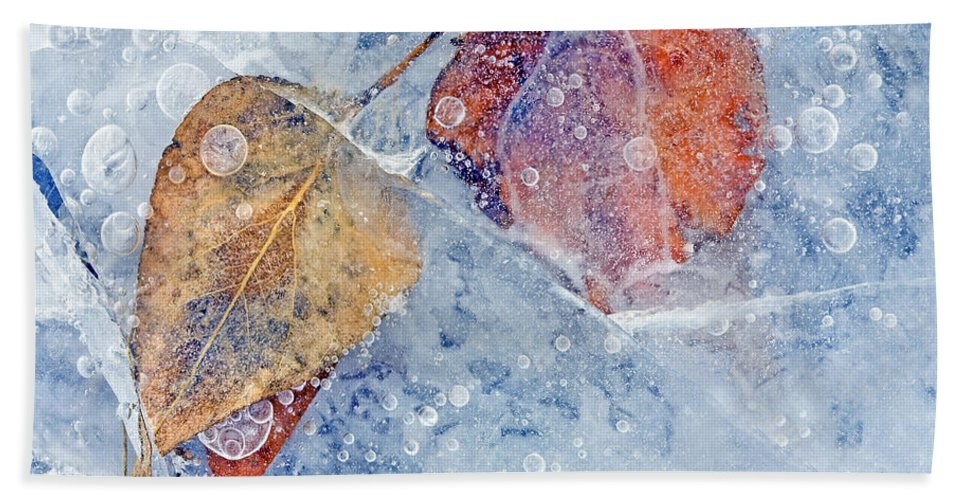 Ice Hand Towel featuring the photograph Fractured Seasons by Mike Dawson