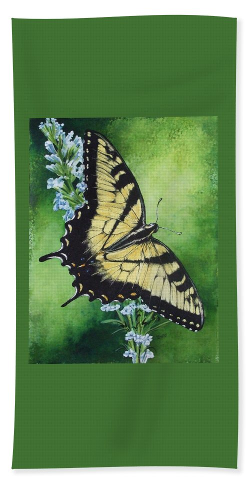 Bugs Hand Towel featuring the mixed media Fragile Beauty by Barbara Keith