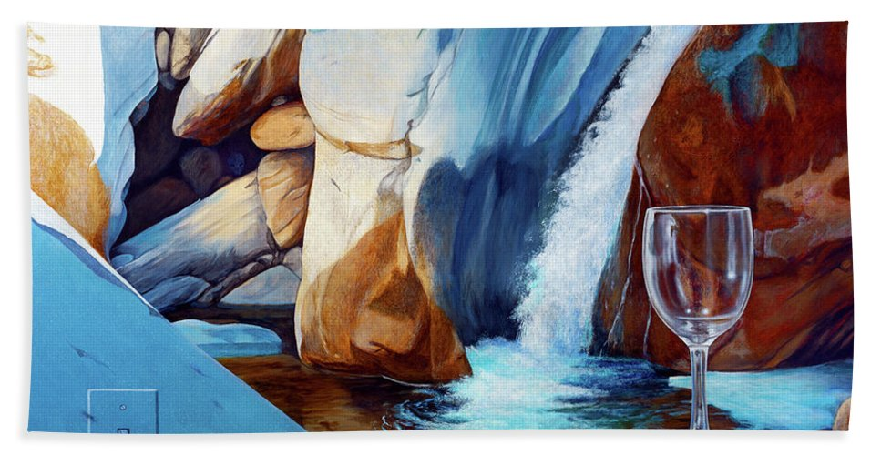 Landscape Hand Towel featuring the painting Fragile Moments by Snake Jagger