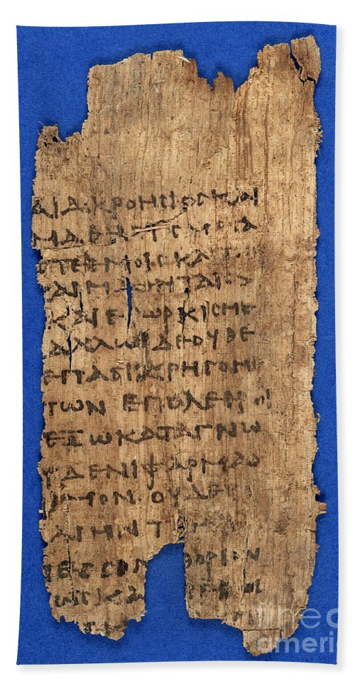 Papyrus Hand Towel featuring the photograph Fragment Of Hippocratic Oath, 3rd by Wellcome Images