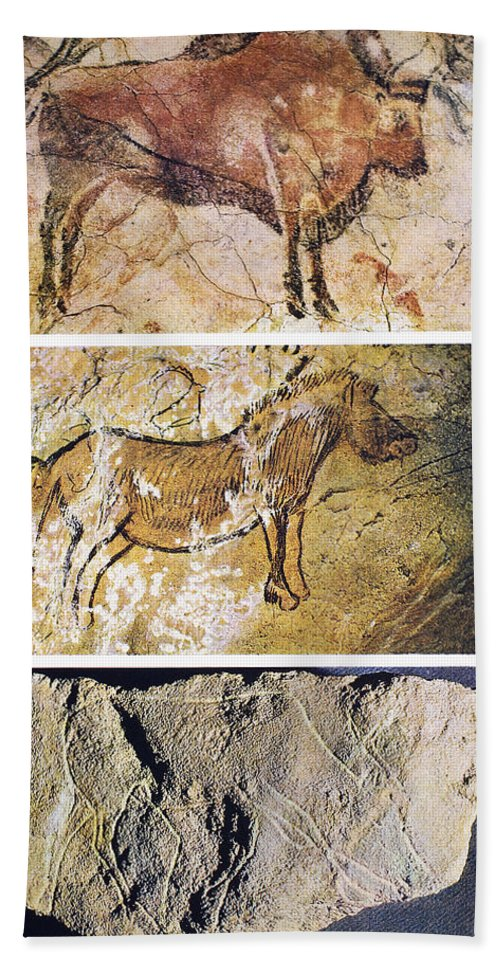Altamira Bath Sheet featuring the photograph France And Spain: Cave Art by Granger