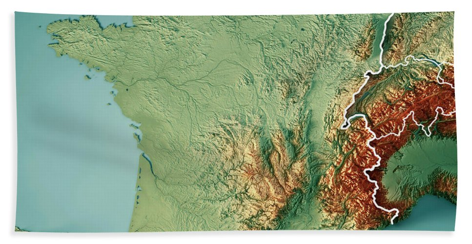 France Country 3d Render Topographic Map Border Bath Towel For Sale
