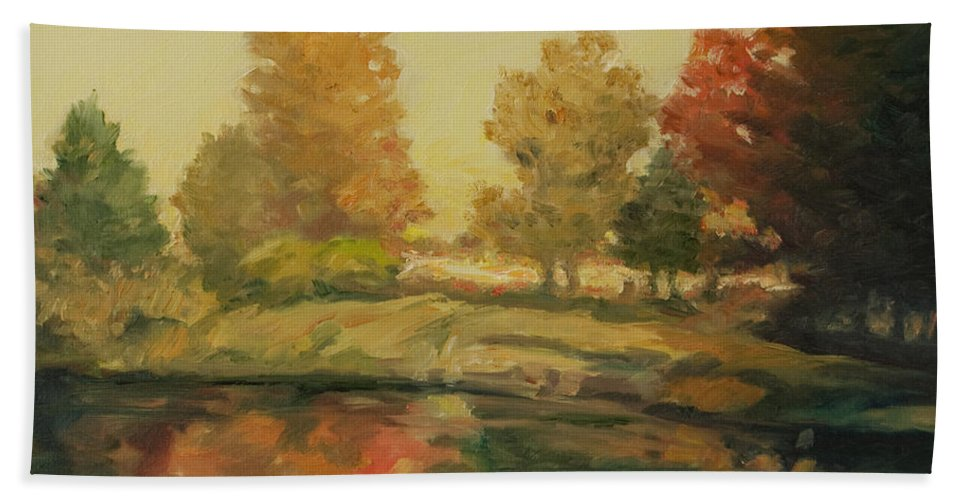 Trees Bath Towel featuring the painting France I by Rick Nederlof