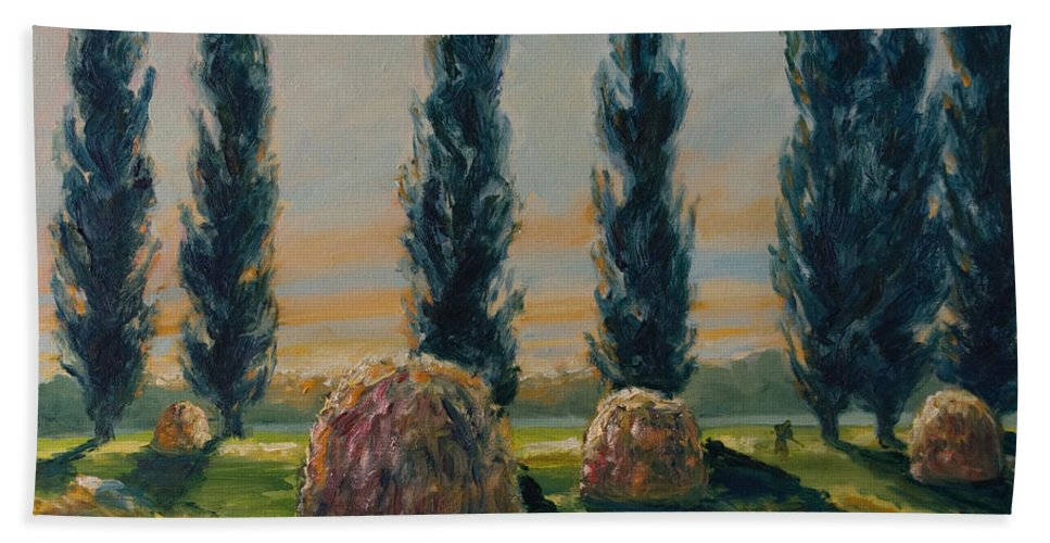 Trees Bath Sheet featuring the painting France Iv by Rick Nederlof