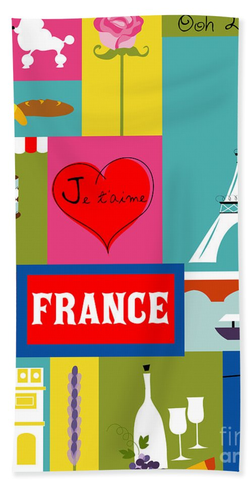 Paris Bath Sheet featuring the digital art France Vertical Scene - Collage by Karen Young
