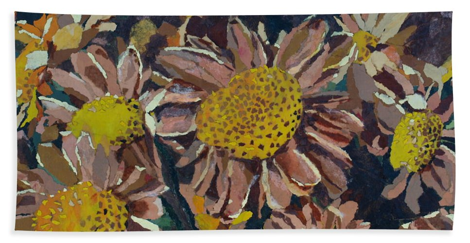 Recycle Bath Sheet featuring the painting Francescas Mums by Leah Tomaino