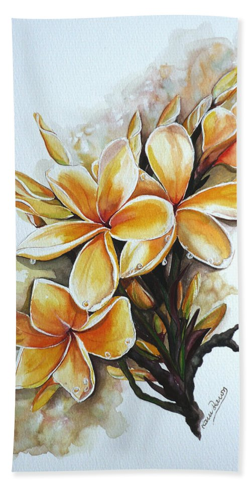 Caribbean Paintings Flower Paintings Floral Paintings  Bath Towel featuring the painting Frangipangi  Sold by Karin Dawn Kelshall- Best