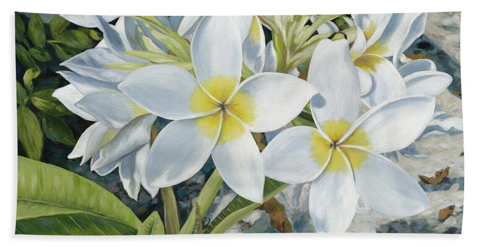 Frangipani Hand Towel featuring the painting Frangipani by Danielle Perry