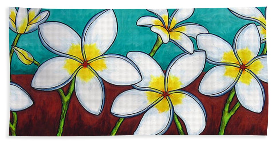 Frangipani Bath Towel featuring the painting Frangipani Delight by Lisa Lorenz