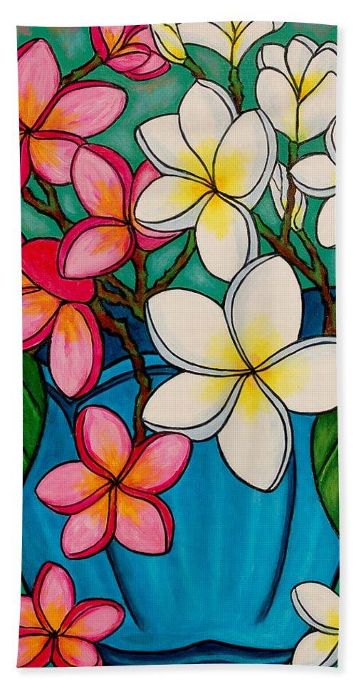 Frangipani Bath Sheet featuring the painting Frangipani Sawadee by Lisa Lorenz