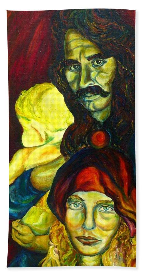 Frank Zappa Bath Sheet featuring the painting Frank Zappa  by Carole Spandau