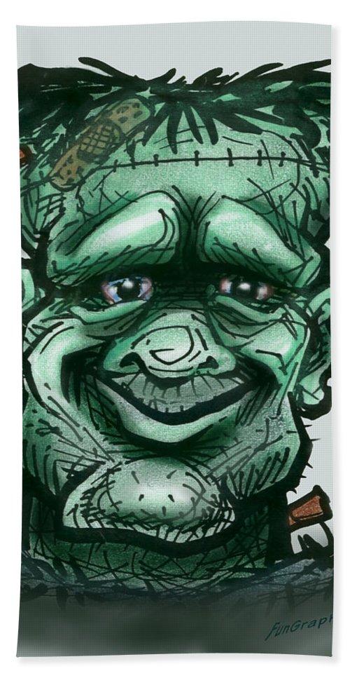 Frankenstein Bath Sheet featuring the greeting card Frankenstein by Kevin Middleton