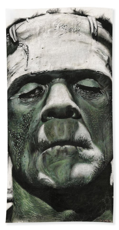 Portrait Hand Towel featuring the painting Frankenstein Portrait by Daniel Ayala