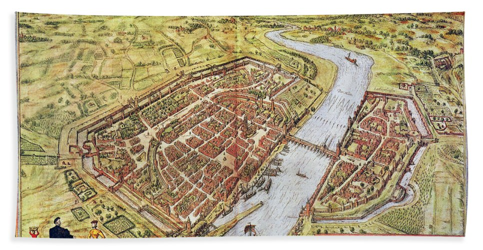 1572 Hand Towel featuring the photograph Frankfurt, Germany, 1572 by Granger