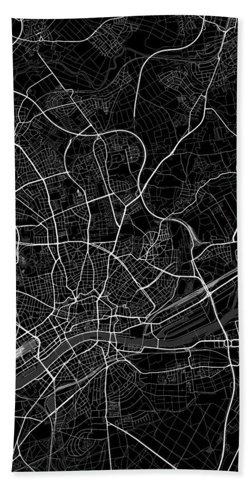 Road Map Hand Towel featuring the digital art Frankfurt Germany Dark Map by Jurq Studio
