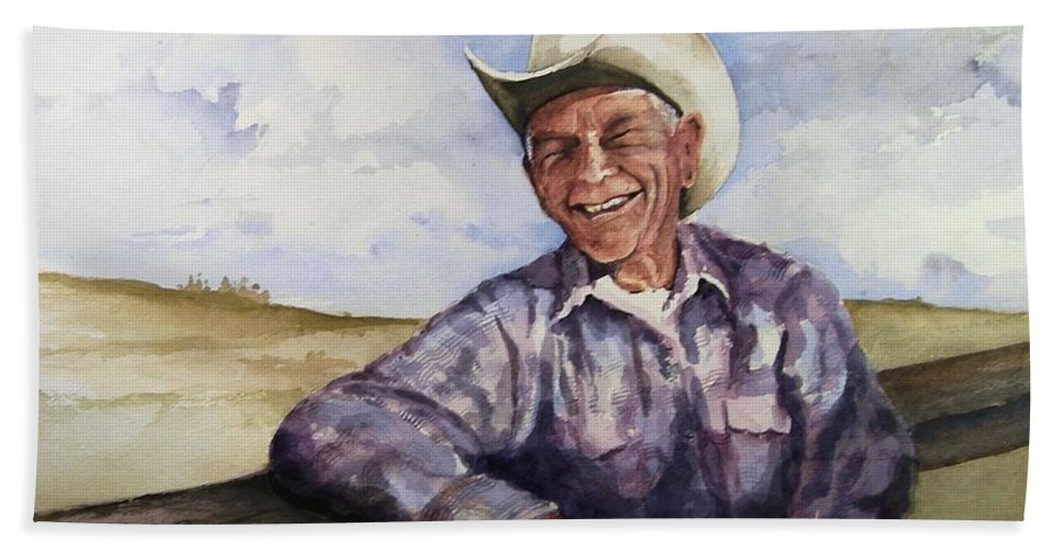Cowboy Smile Friendly Happy Texan Texas Music Fiddler Bath Sheet featuring the painting Frankie by Sam Sidders