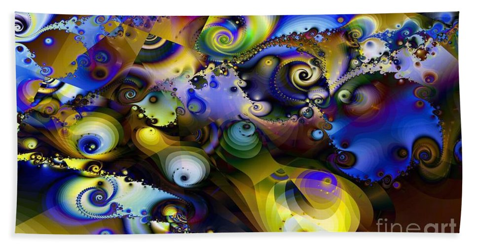 Frantic Activity Bath Sheet featuring the digital art Frantic Activity by Ron Bissett