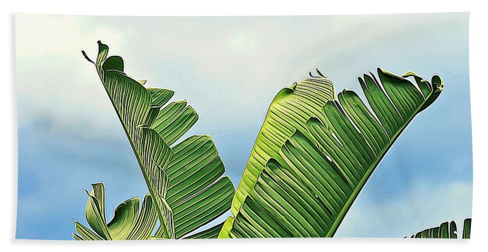 Botanical Hand Towel featuring the painting Frayed Palm Fronds Against Blue Sky by Elaine Plesser