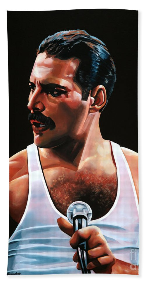 Freddie Mercury Hand Towel featuring the painting Freddie Mercury by Paul Meijering