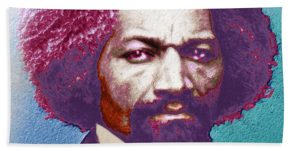 Frederick Douglass Hand Towel featuring the painting Frederick Douglass Painting In Color Pop Art by Tony Rubino