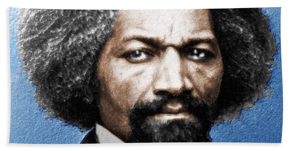 Frederick Douglass Hand Towel featuring the painting Frederick Douglass Painting In Color by Tony Rubino
