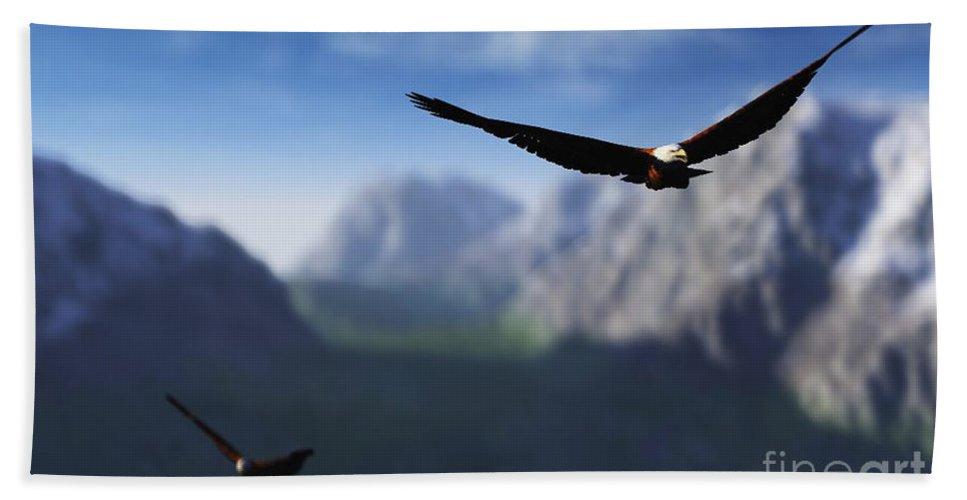Eagles Bath Towel featuring the digital art Free Bird by Richard Rizzo