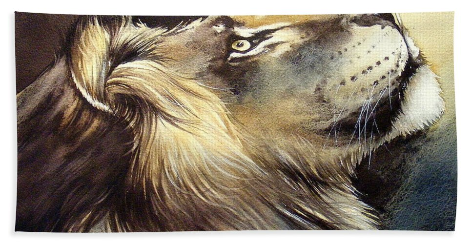 Watercolor Hand Towel featuring the painting Free King by Fabien Petillion