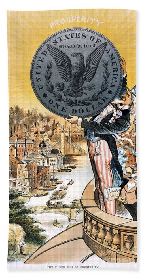 1890 Hand Towel featuring the photograph Free Silver Cartoon, 1890 by Granger