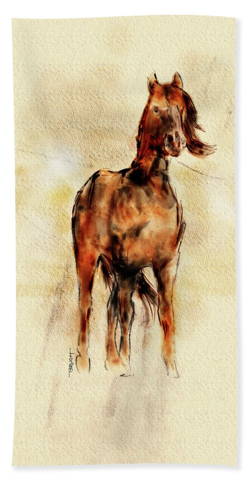 Horse Hand Towel featuring the mixed media Free Spirit by Michael Brugh