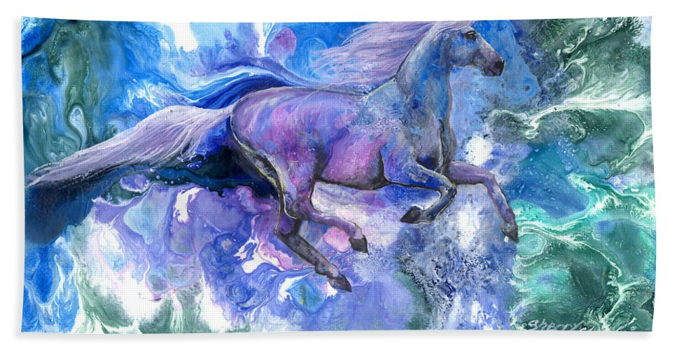 Horse Hand Towel featuring the painting Free Spirit by Sherry Shipley