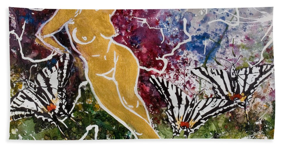 Nude Hand Towel featuring the painting Freedom by Elisabeta Hermann