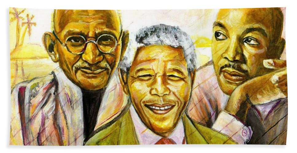 Portrait Paintings Bath Sheet featuring the painting Freedom Hero by Wale Adeoye