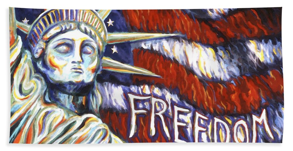 Statue Of Liberty Bath Towel featuring the painting Freedom by Linda Mears
