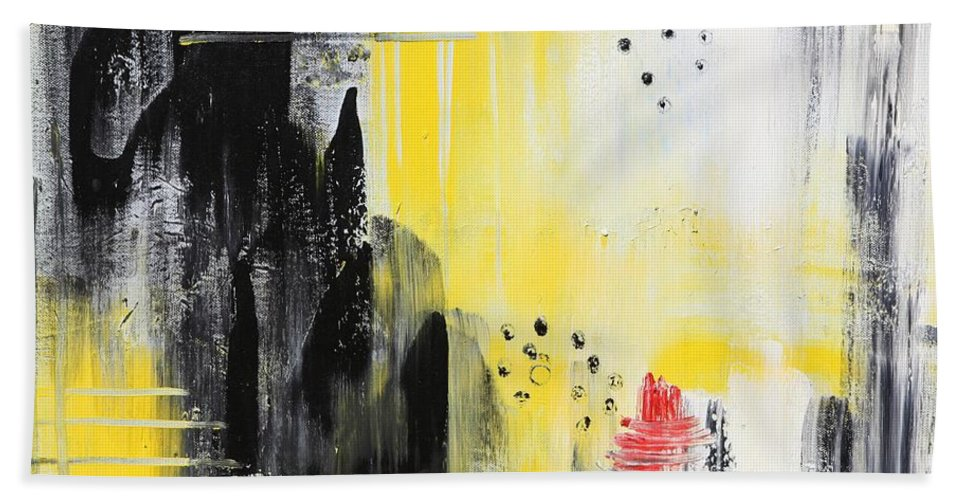 Abstract Hand Towel featuring the painting Freedom by Sladjana Lazarevic