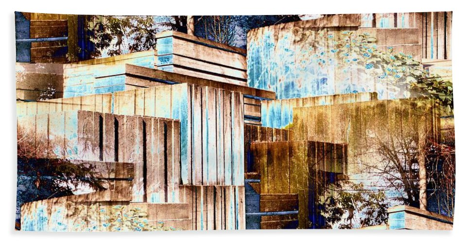 Seattle Bath Towel featuring the digital art Freeway Park by Tim Allen