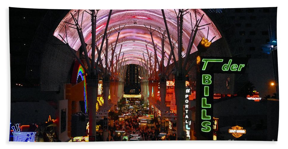 Fremont Street Hand Towel featuring the photograph Fremont Street by David Lee Thompson